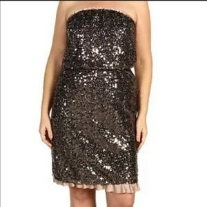 DKNY sequin ruffle strapless dress Large Petite